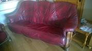 Burgundy Oak Frame 3-1-1 Leather Suite.