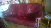 Burgundy Oak Frame 3-1-1 Leather Suite